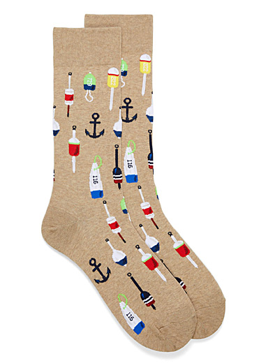 Hot Sox Sand Nautical symbol socks for men