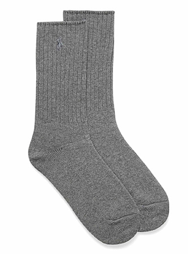 Embroidery ribbed ankle socks