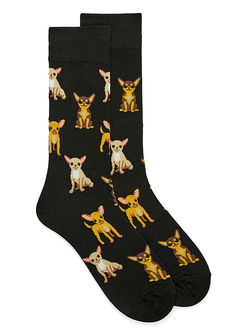 Hot Sox Patterned Black Baby Chihuahua socks for men