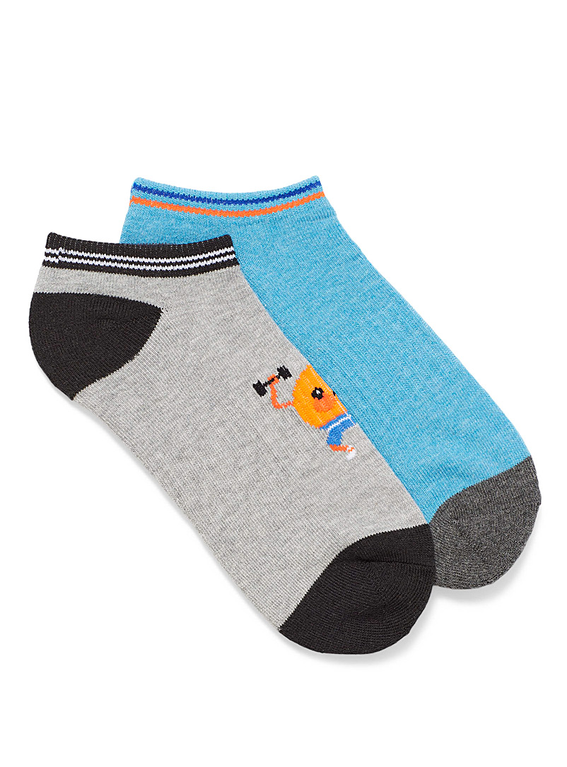 Hot Sox Grey Beefy peach ped socks Set of 2 for women