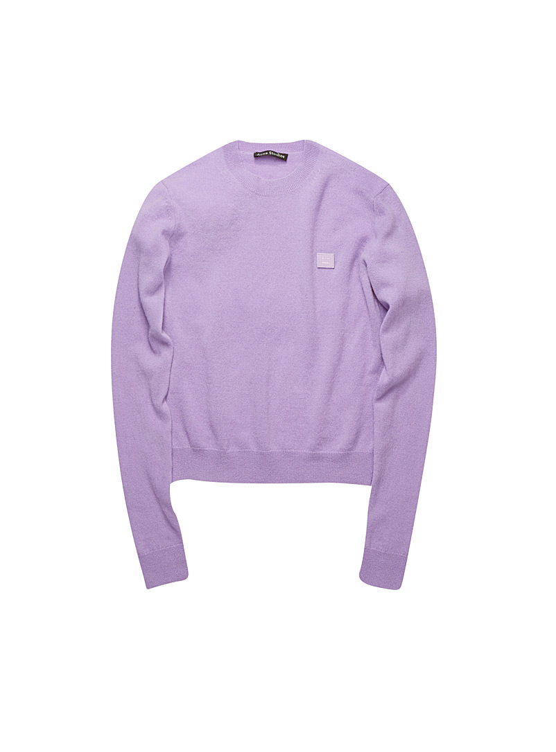 Acne Studios Light Crimson Iconic face patch sweater for women