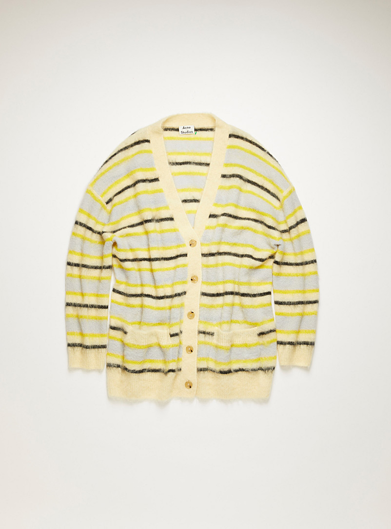 Acne Studios Patterned Yellow Fluffy striped cardigan for women
