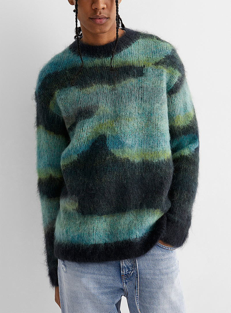 Acne Studios Patterned Blue Abstract jacquard mohair blend sweater for men
