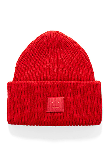 Acne Studios Red Pansy tuque for men