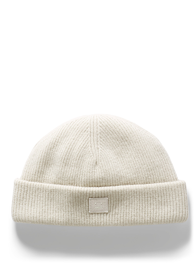 Acne Studios Ivory White Face logo ribbed tuque for men