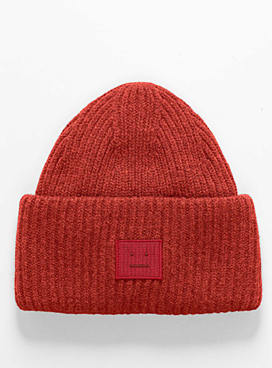 Acne Studios Red Oversized cuff tuque for men