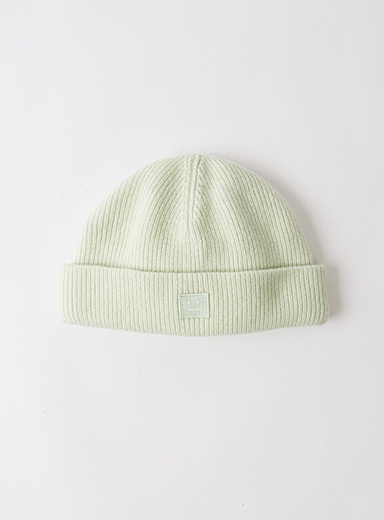 Acne Studios Lime Green Face beanie for men