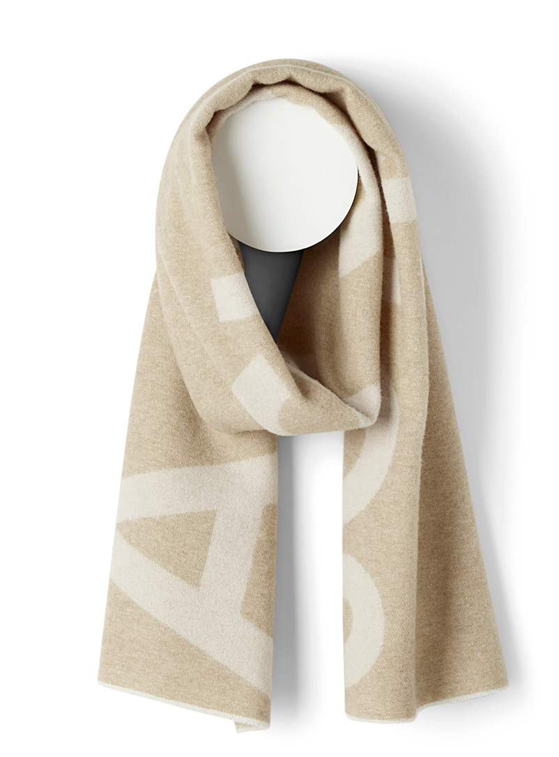 Acne Studios Ecru/Linen Jacquard logo blanket scarf for men