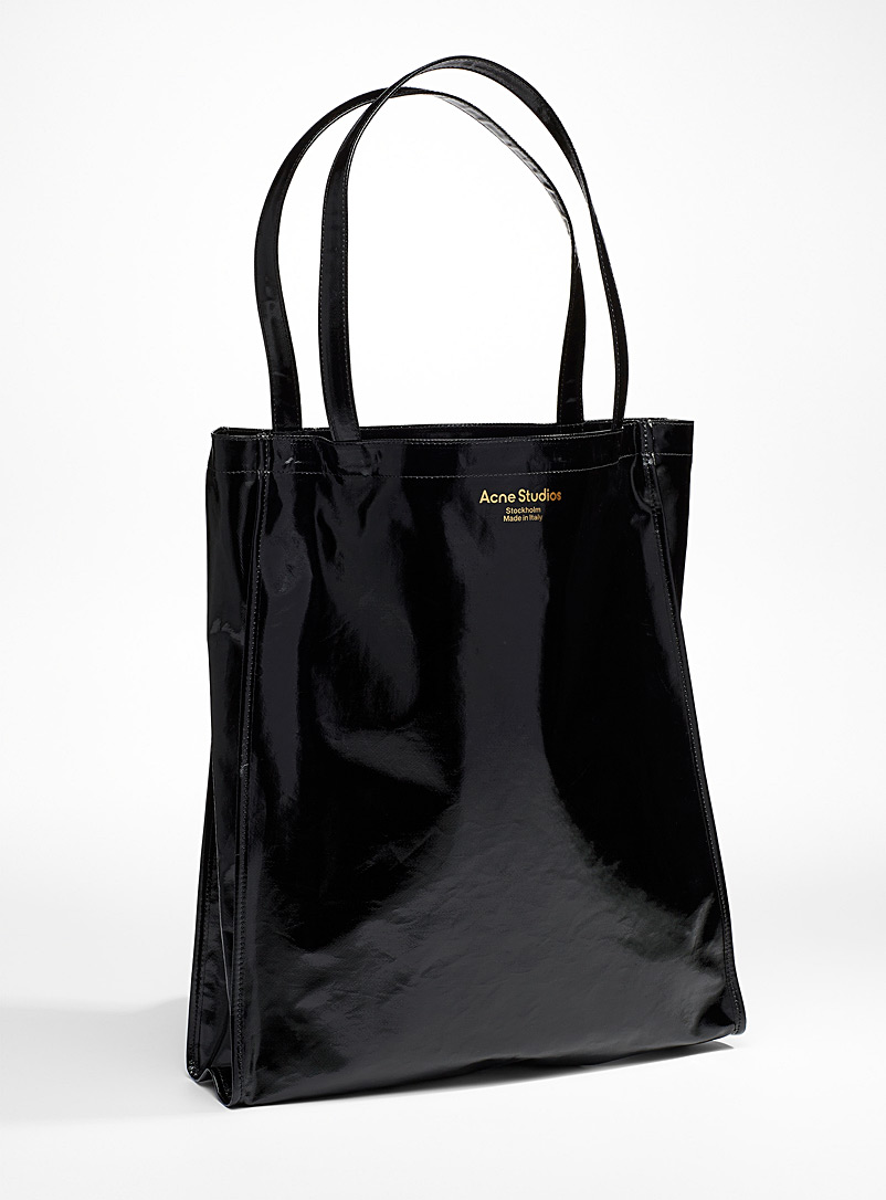 Acne Studios Black Waxed canvas tote for men