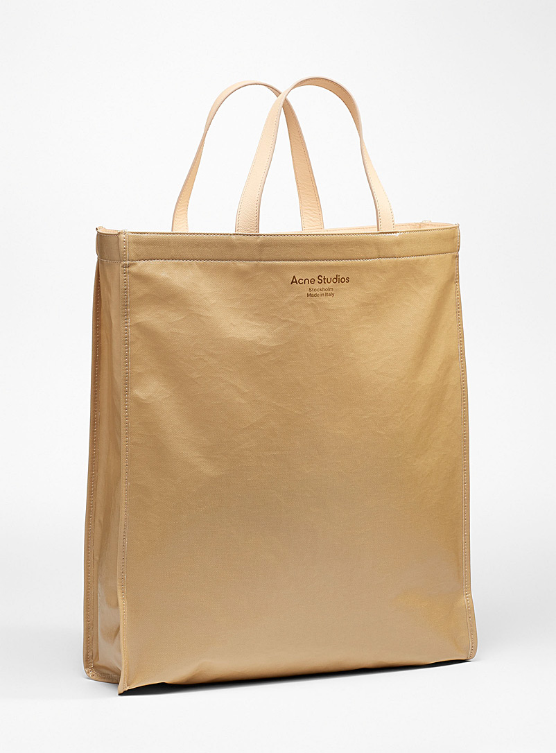 Acne Studios Ivory White Large silver print tote bag for men