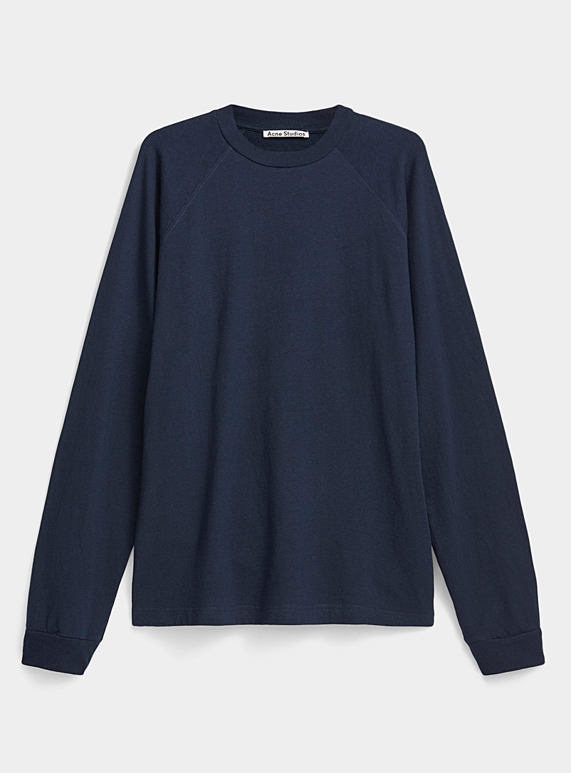 Acne Studios Marine Blue Embroidered logo tee for men