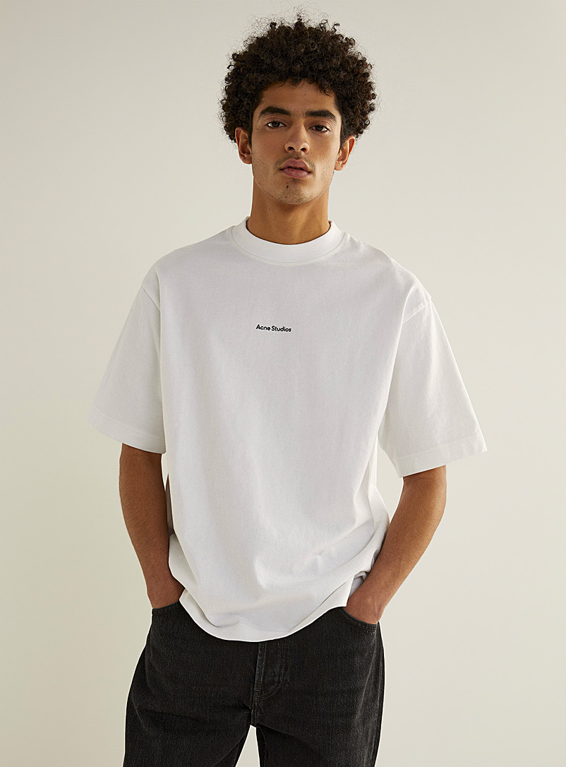 Acne Studios White Structured jersey signature T-shirt for men
