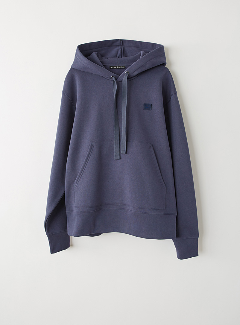 Acne Studios Marine Blue Face hooded sweatshirt for men