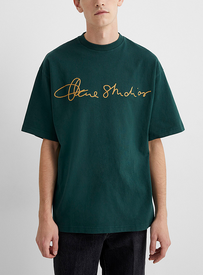 Acne Studios Green Golden embroidery signature T-shirt for men