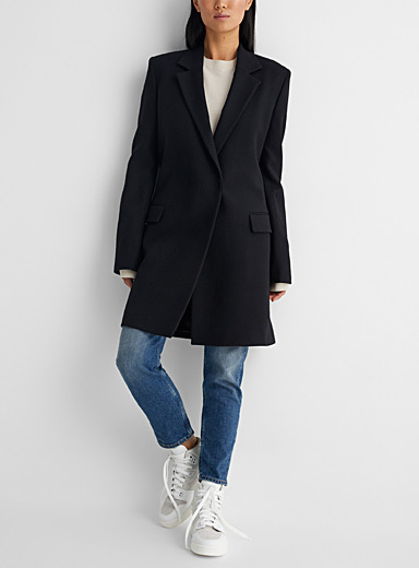 Double-breasted twill coat