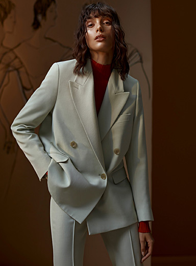 Acne Studios Lime Green Wide notch lapels jacket for women