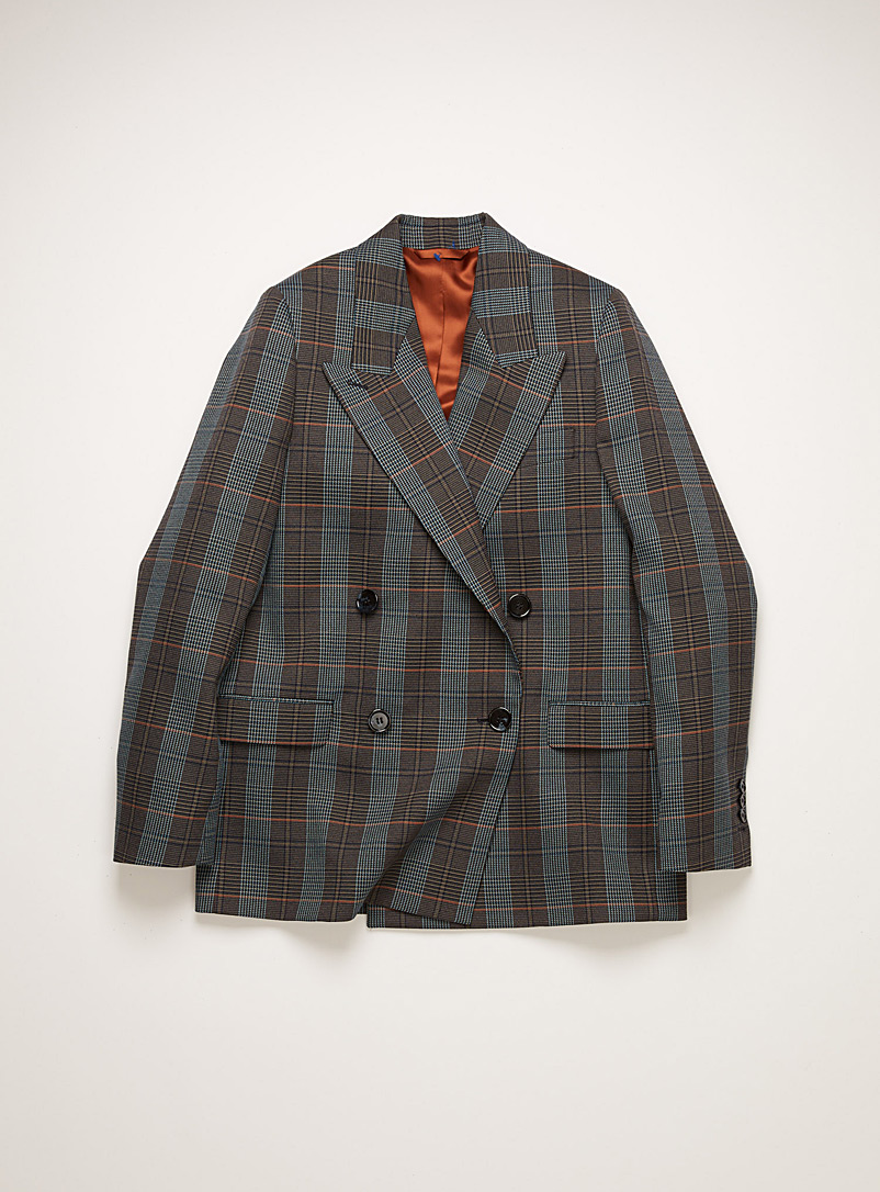Acne Studios Green Janny plaid tailored blazer for women