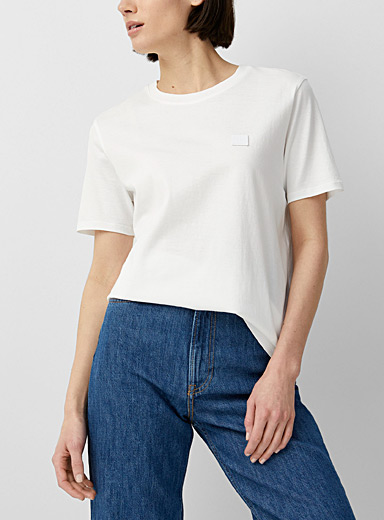 Acne Studios Ivory White Face patch T-shirt for women