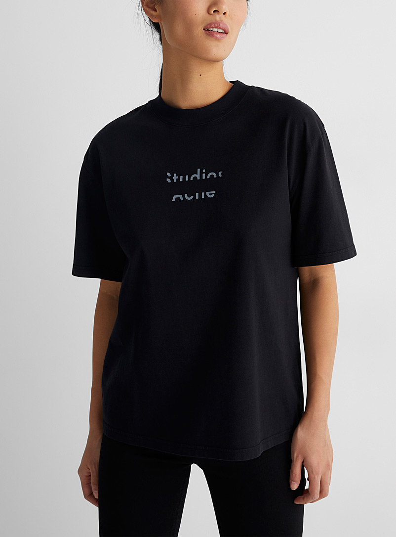 Acne Studios Black Broken-Logo T-shirt for women
