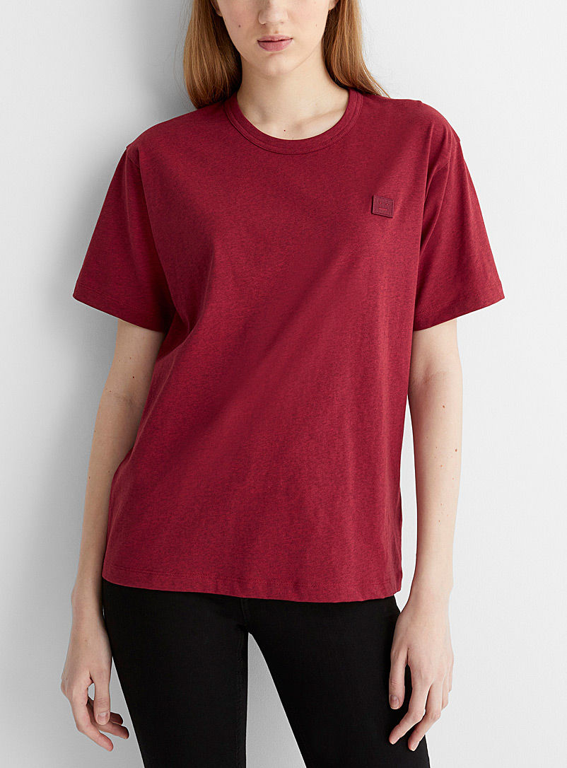Acne Studios Ruby Red Crew neck Face T-shirt for women