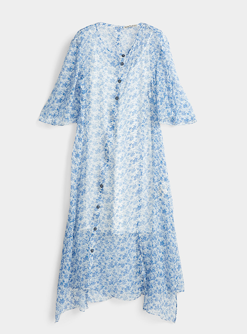 Acne Studios Blue Blue flower chiffon dress for women