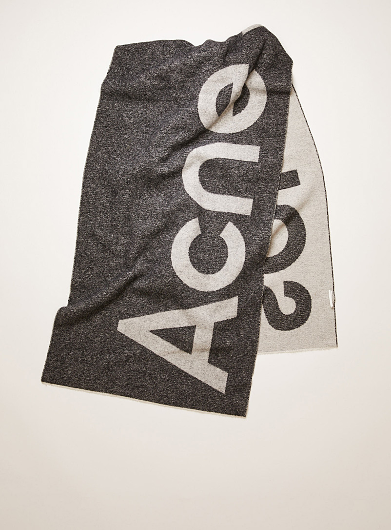 Acne Studios Assorted grey  Charcoal jacquard logo blanket scarf for women