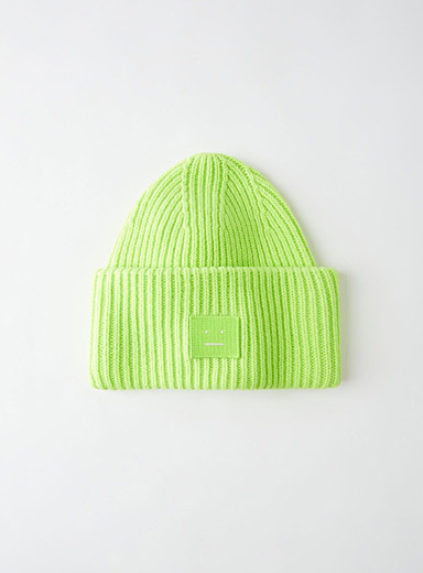 Acne Studios Lime Green Face beanie for women
