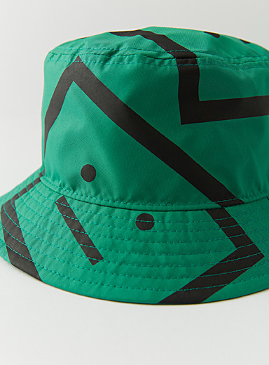Acne Studios Green Face pattern bucket hat for women