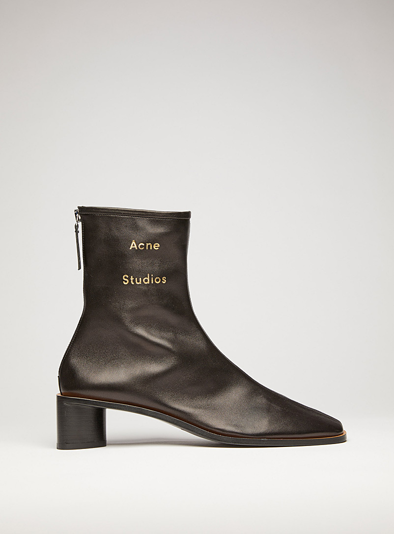 Acne Studios Black Gold logo boots for women