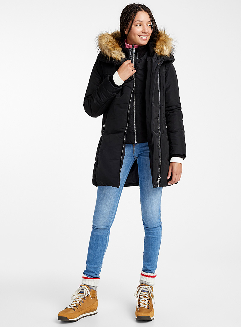 Asymmetric zip quilted parka - Quilted and Down Jackets - Black