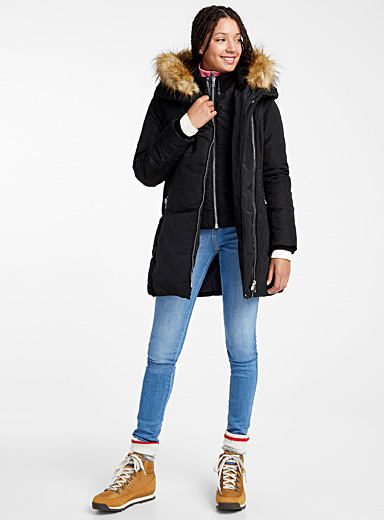 Asymmetric zip quilted parka