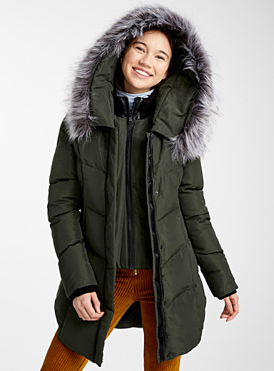 Faux-fur quilted parka