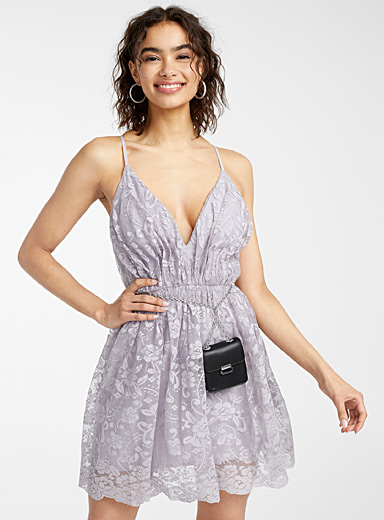 Floral lace plunging dress