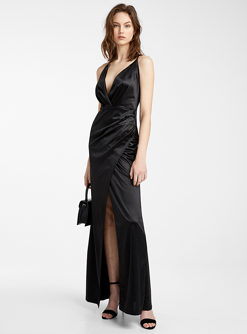 Spaghetti-strap satin dress