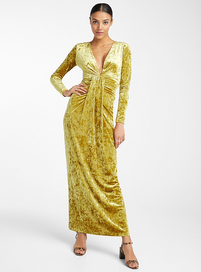Chartreuse velvet maxi dress - Bodycon - Dark Yellow