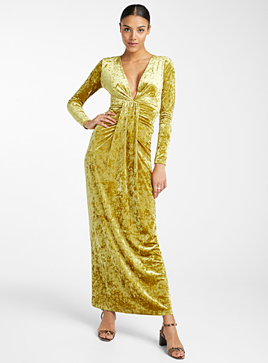 Chartreuse velvet maxi dress