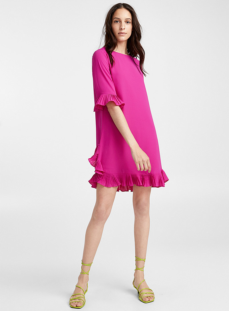 ruffle-pleat-magenta-dress