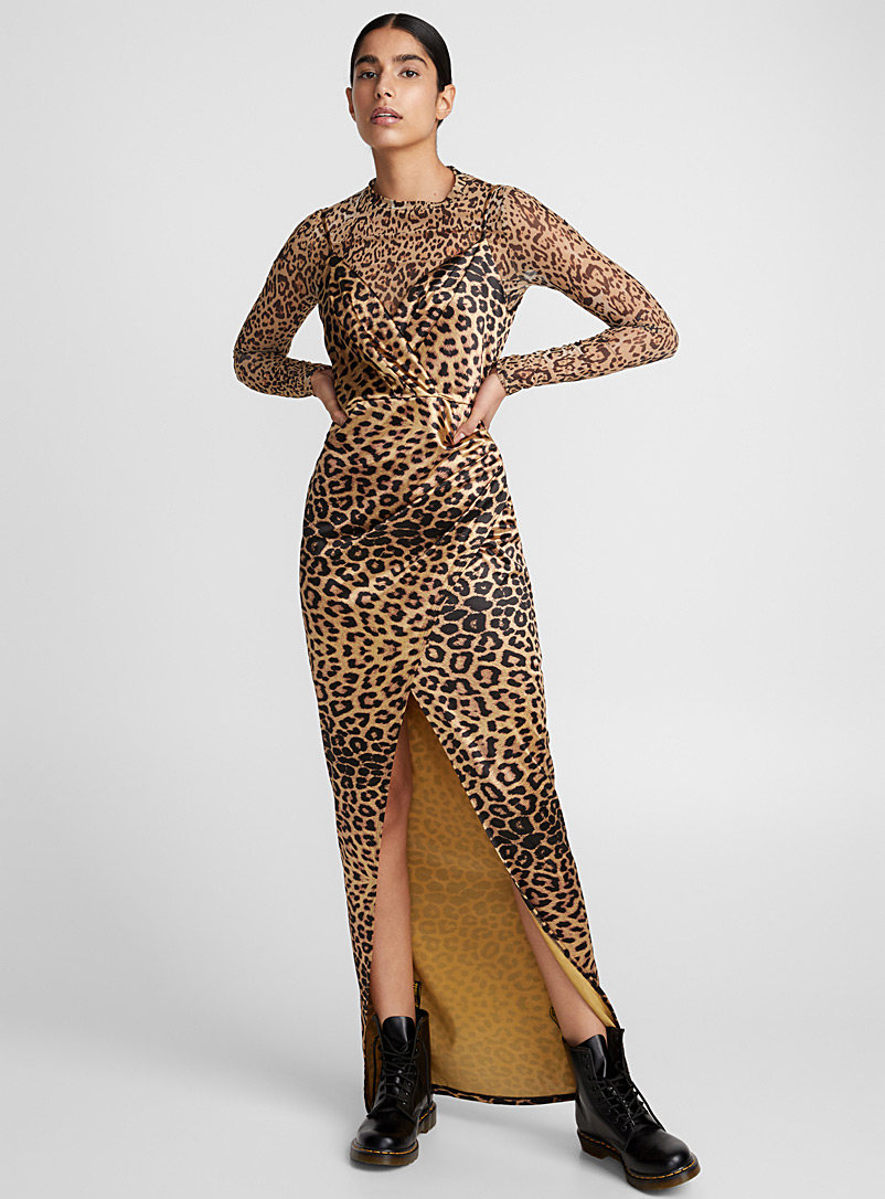 Satiny leopard maxi dress - Bodycon - Patterned Ecru