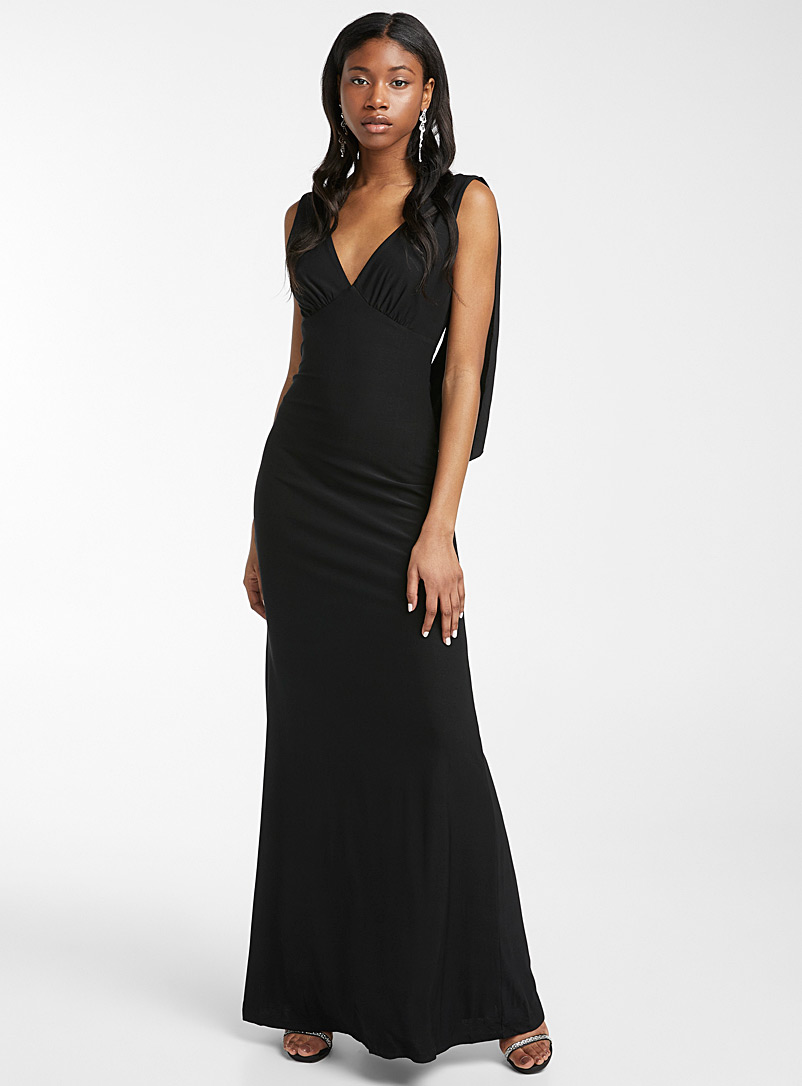 Ic?ne Black Deep V-back maxi dress for women