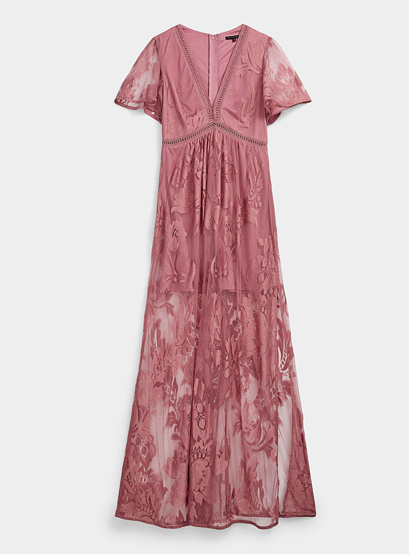Ic?ne Tan Floral mesh maxi dress for women