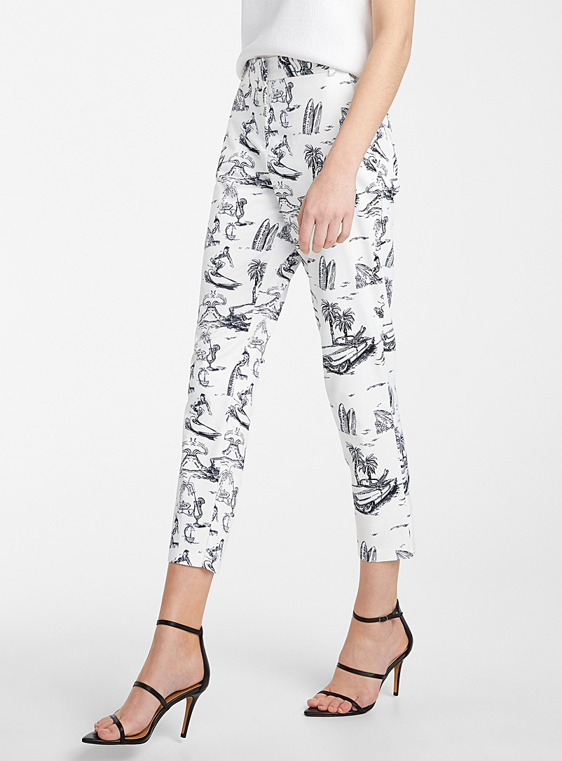 Icône Patterned White Vacation illustration satiny pant for women