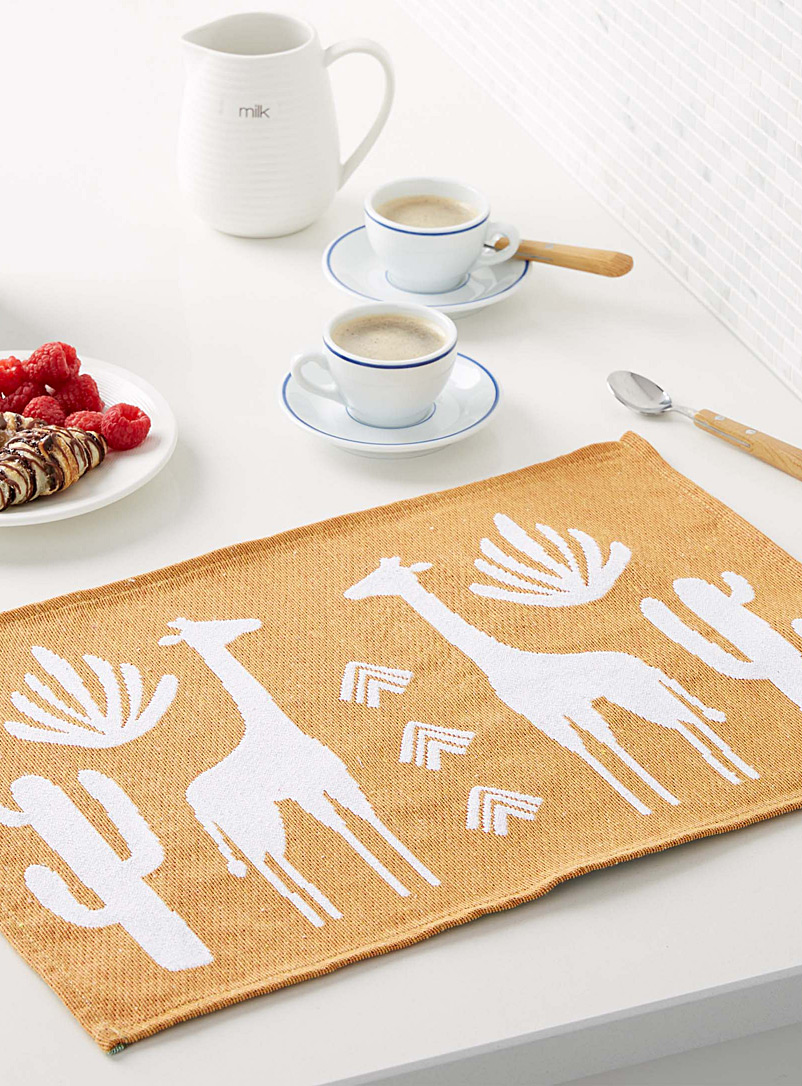 Tanzania safari woven placemat - Fabric - Dark Yellow