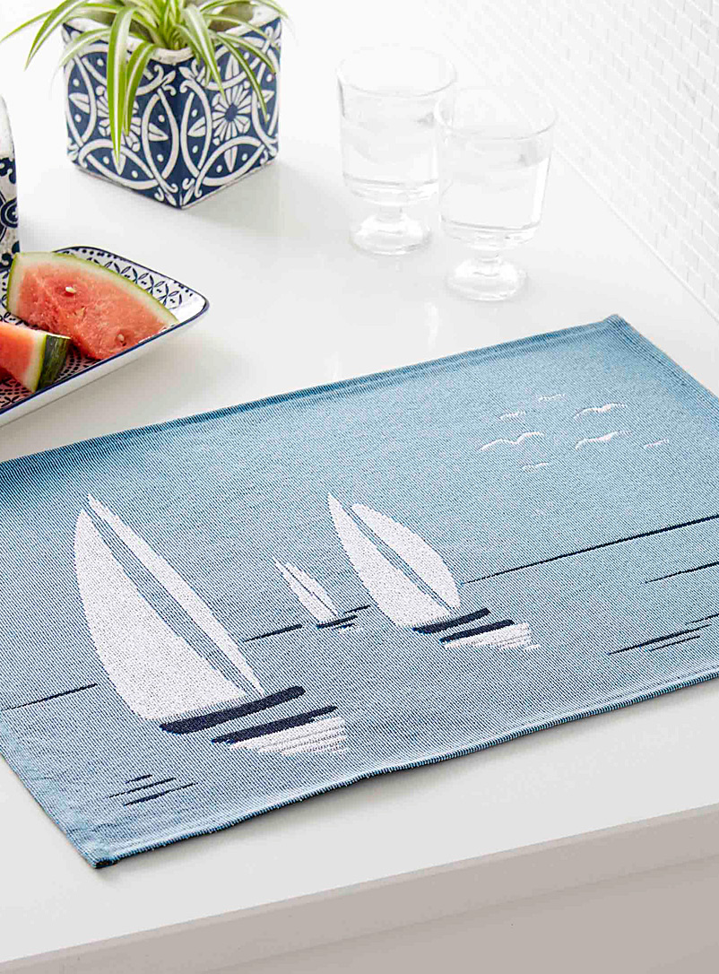 Simons Maison Patterned Blue Sail day tapestry placemat