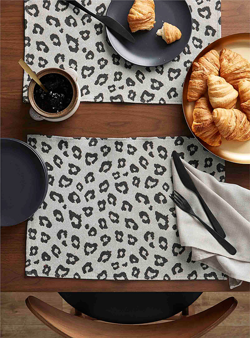 Simons Maison Patterned Ecru Leopard print tapestry placemat
