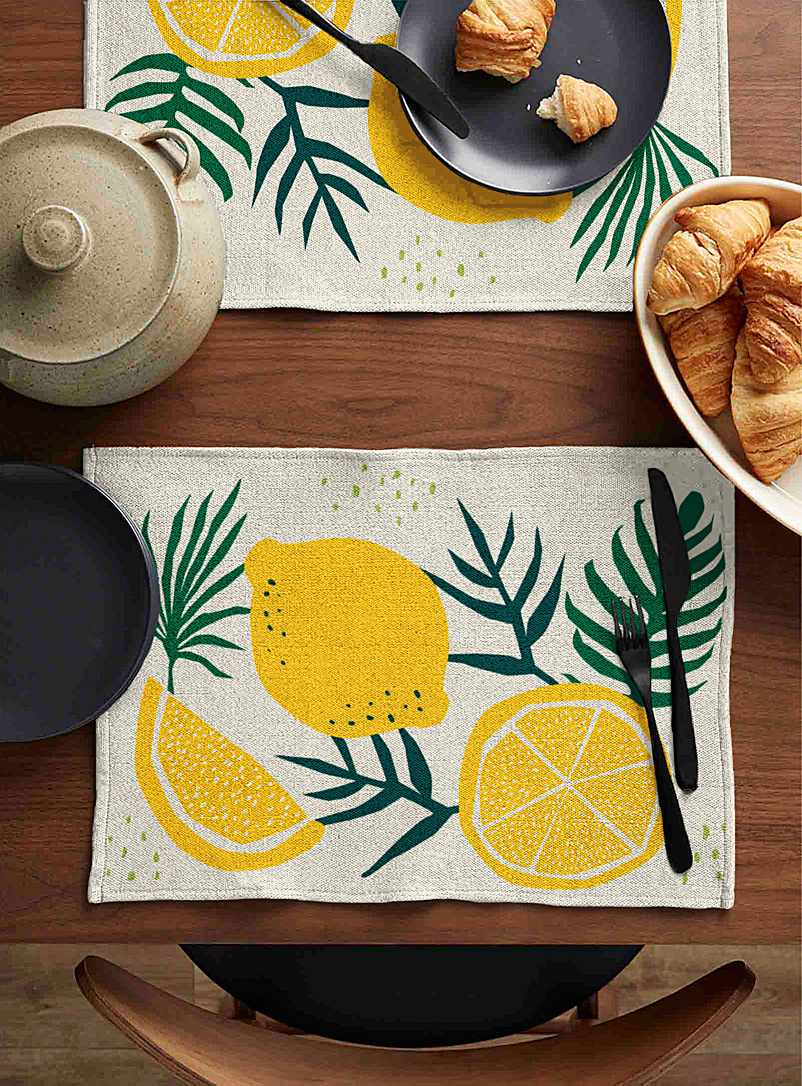 Simons Maison Assorted Lemon tree tapestry placemat