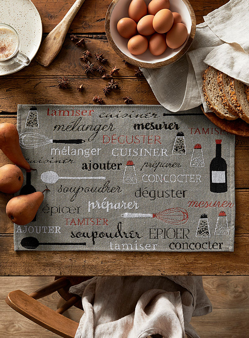 Simons Maison Assorted Chef typography tapestry placemat