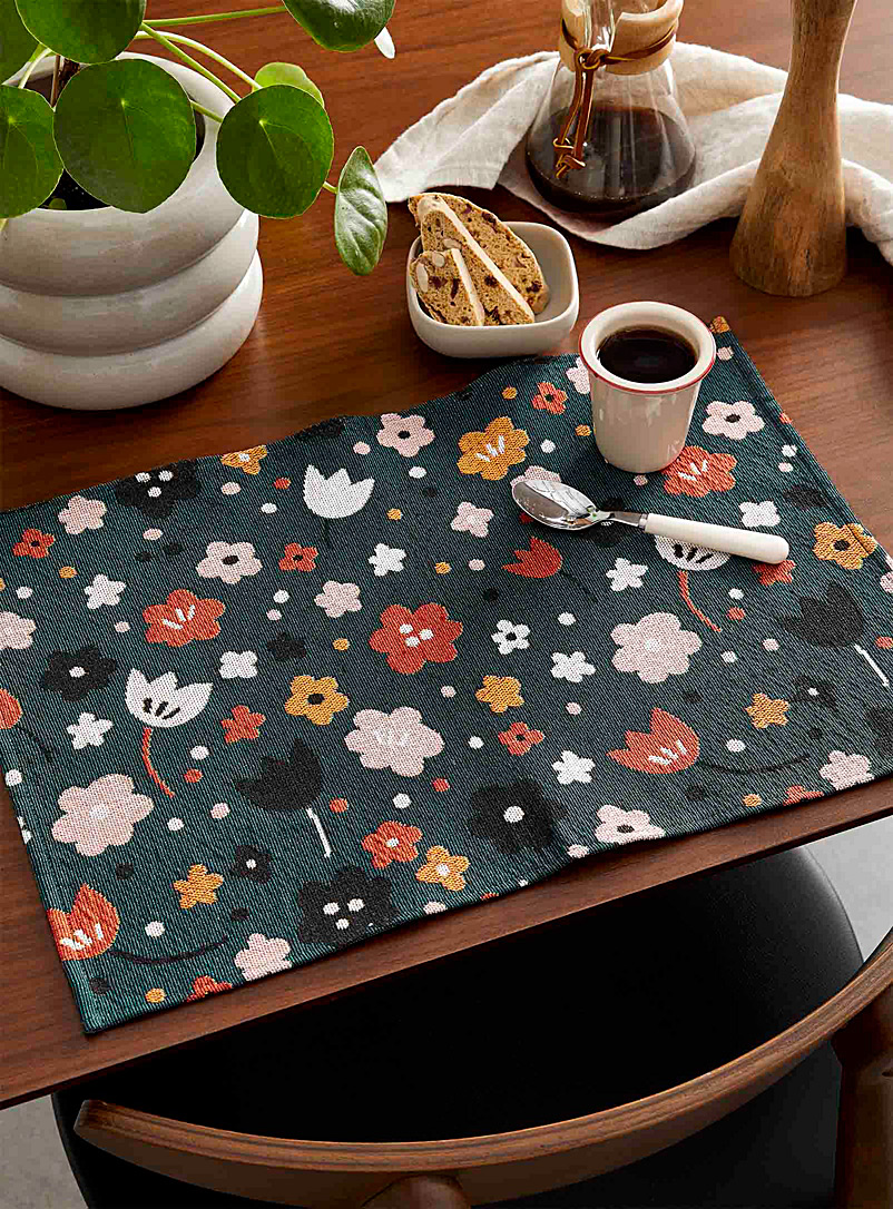 Simons Maison Patterned Green Vintage flowers placemats Set of 2