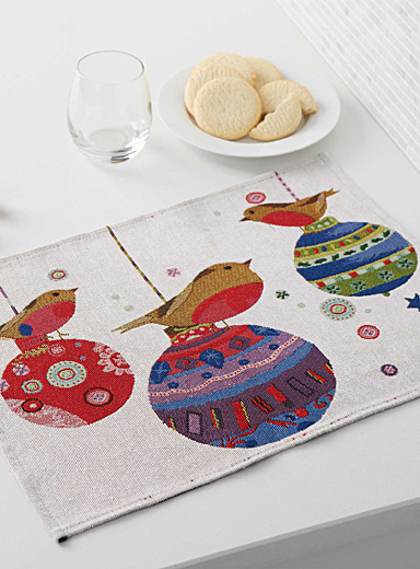 Christmas birds tapestry place mat