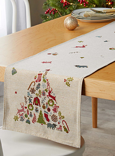 Fun fir tree tapestry table runner  33 cm x 180 cm