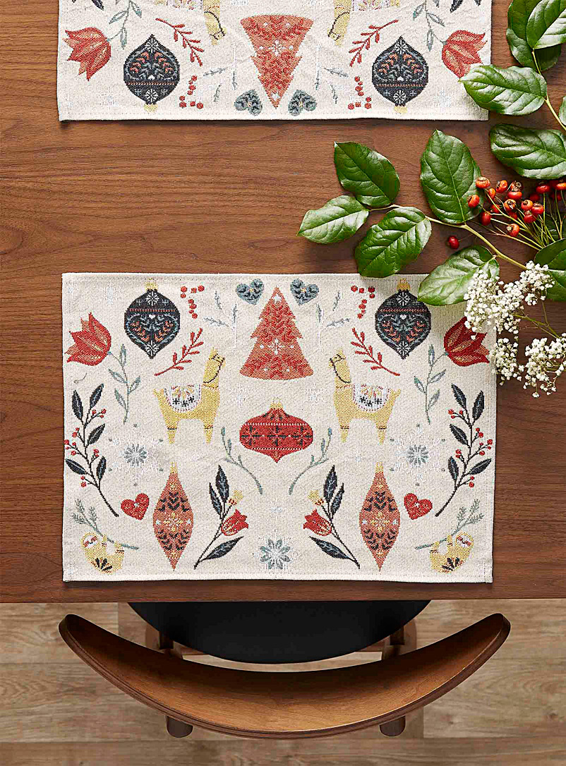 Simons Maison Assorted Andean Christmas tapestry placemat